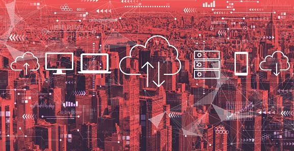 Cloud computing with the New York City skyline