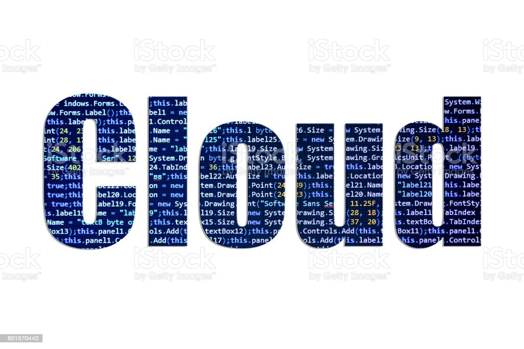 Cloud concept on a white background stock photo