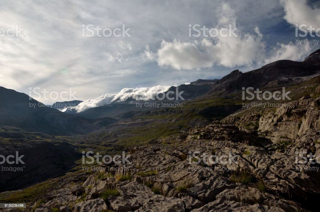 Cloud covered mountain range in the Ordesa national park stock photo