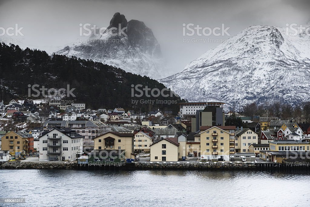 Cloud Covered Mountains Loom Over Åndalsnes stock photo