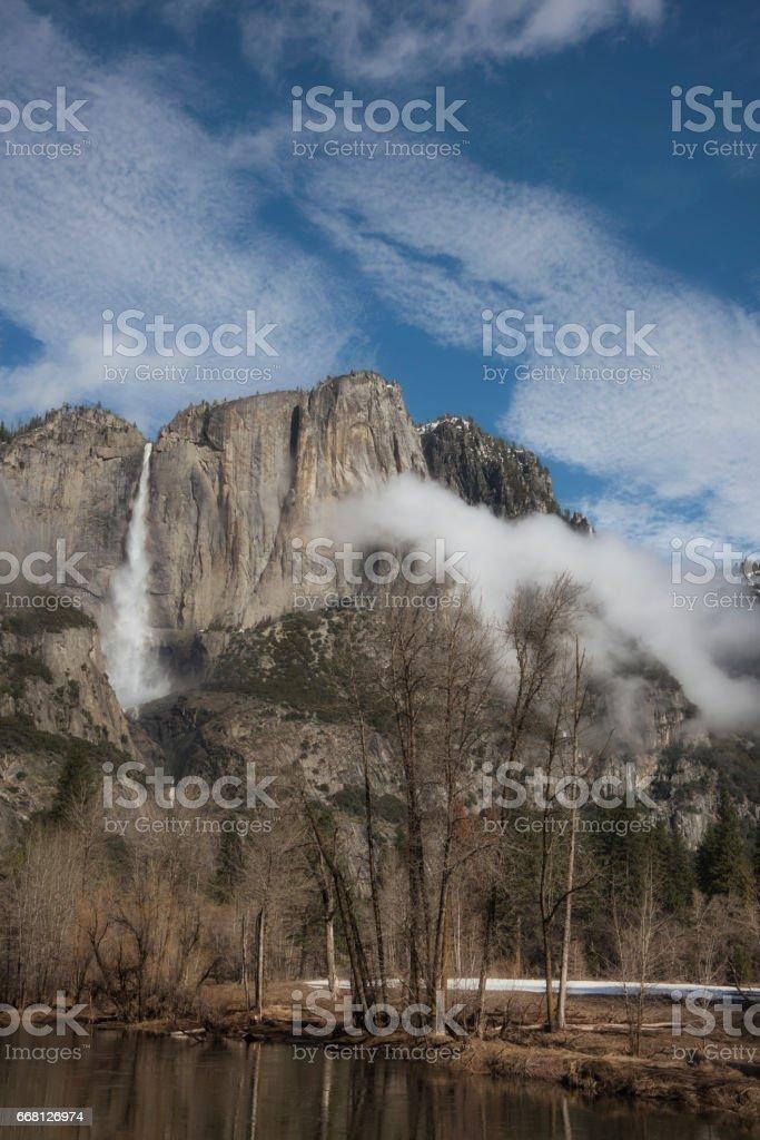 Cloud covered Yosemite Falls stock photo