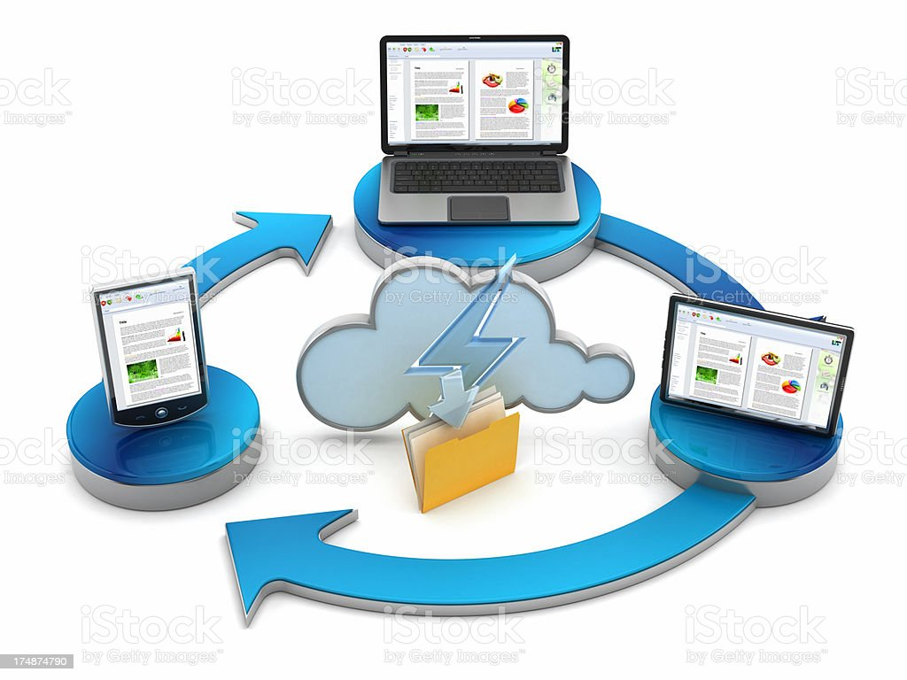 Cloud file sharing stock photo