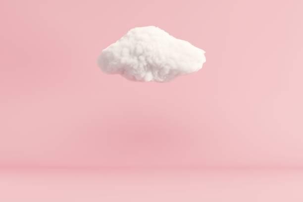 Wolke schwebt auf rosa Raum Hintergrund. minimalen Ideenkonzept. 3D-Rendern. – Foto