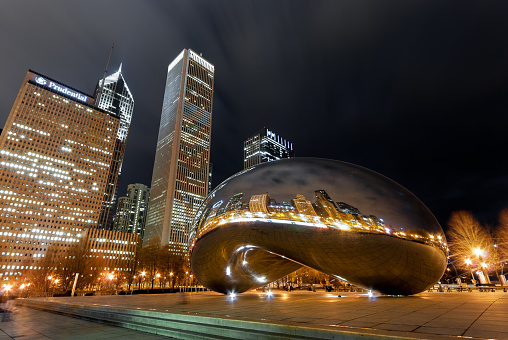 Cloud Gate at night, Chicago