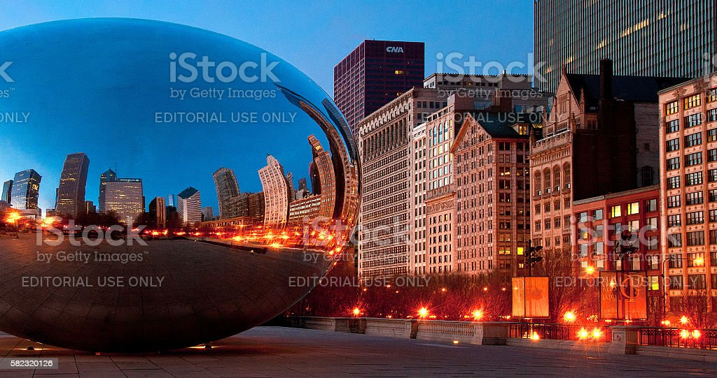 Cloud Gate at twillight stock photo