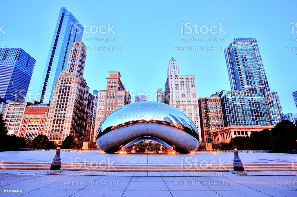 Cloud Gate in Millennium Park at Sunrise, Chicago stock photo