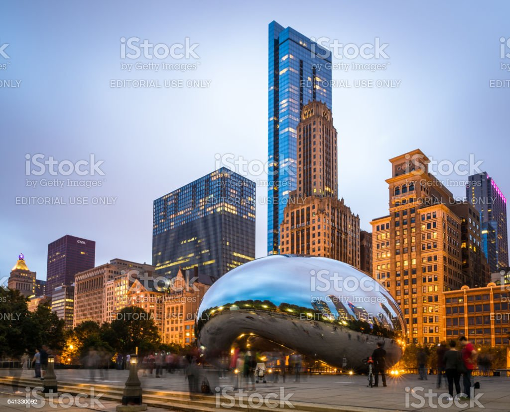 Cloud Gate sculpture in Chicago stock photo