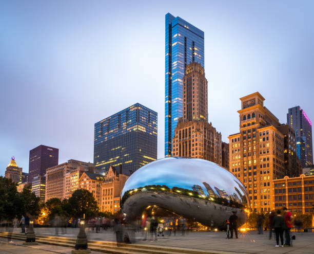 cloud gate sculpture in chicago - bean stock photos and pictures
