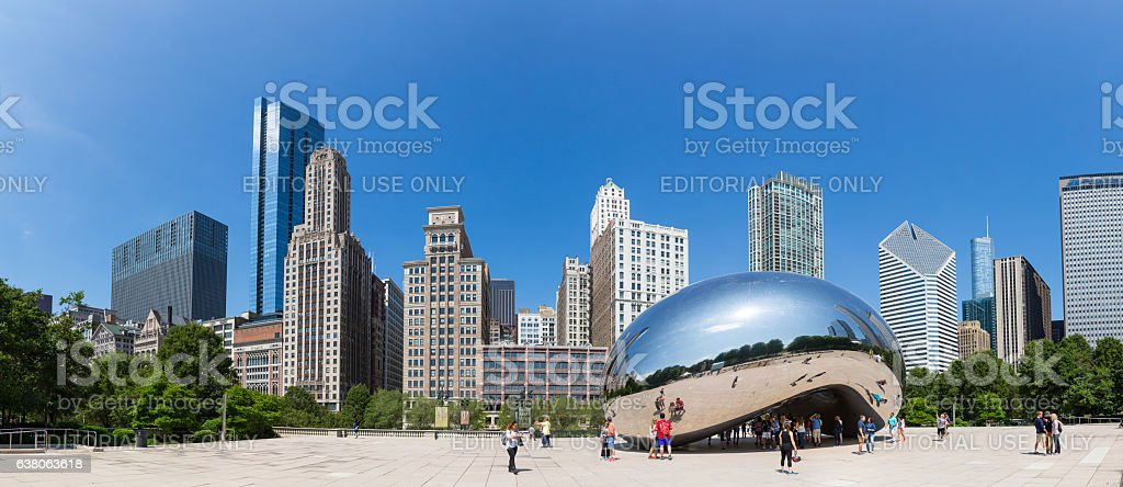 Cloud Gate sculpture in Millenium park. stock photo