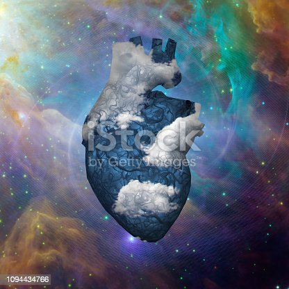 istock Cloud Heart with Galaxy 1094434766
