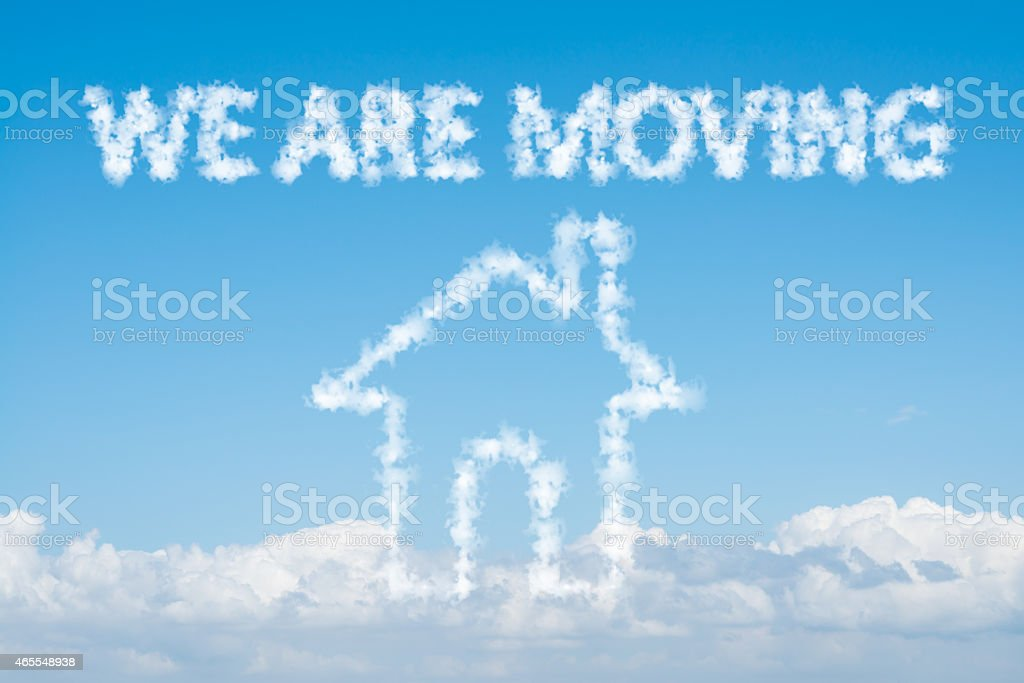 Cloud house of we are moving concept on blue sky stock photo