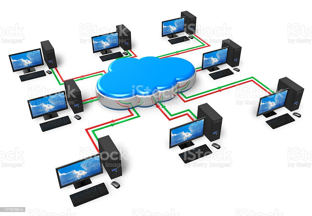 Cloud hub with network of computers attached royalty-free stock photo