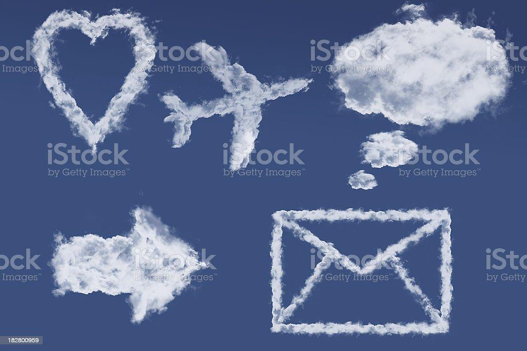Cloud icon set stock photo