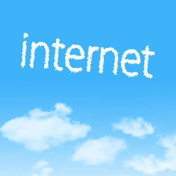 cloud icon mit design auf blauer himmel hintergrund - soziologie stock-fotos und bilder