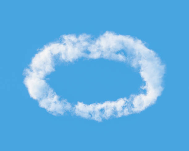 Cloud in  shape of  halo against the blue sky. 3D illustration. stock photo