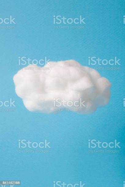 Photo of cloud made out of cotton wool on sky blue background