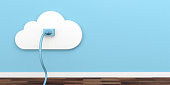 Cloud computing network socket. Plug and socket on blue wall background. 3d illustration