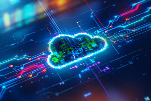 Cloud Network Solution digital background. Cyber Security and Cloud Technology Concept