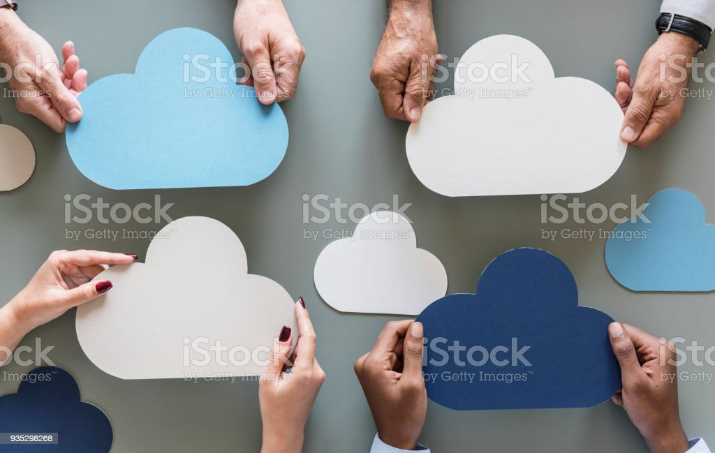 Cloud network storage isolated on gray background stock photo
