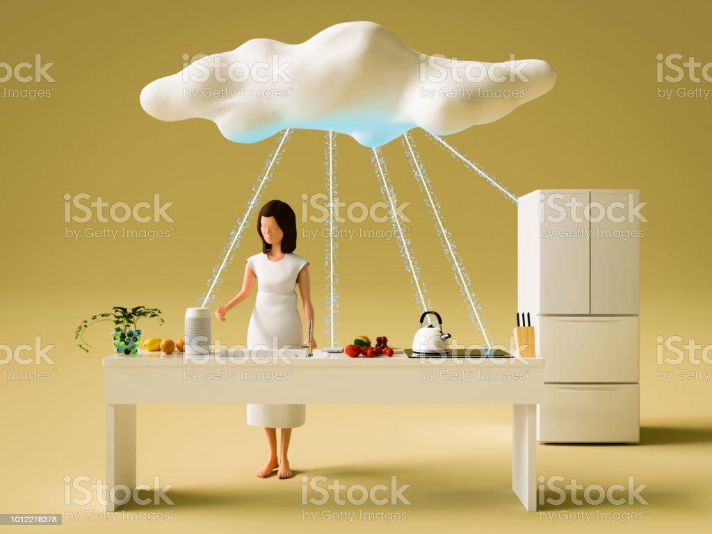 Nuvem de Networking e mulher - foto de acervo