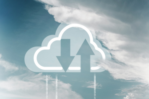 istock Cloud Networking Download Upload From The Cloud. 1227496258
