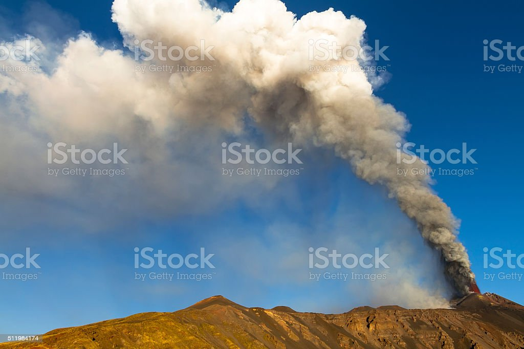 cloud of ash and gas stock photo
