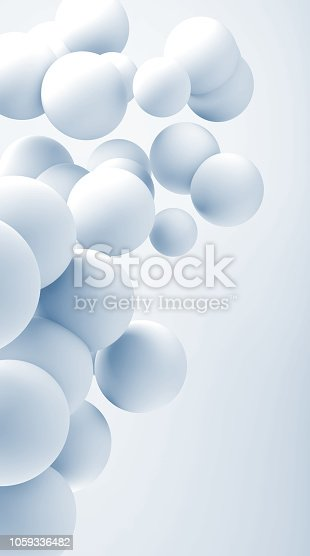 istock Cloud of flying abstract white spheres 1059336482