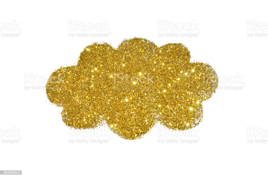 Cloud of golden glitter sparkle on white background stock photo