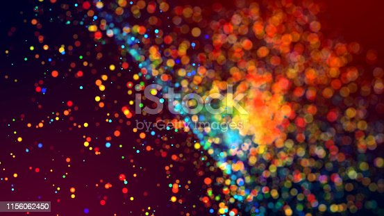 istock cloud of multicolored particles in the air like sparkles on a dark background with depth of field. beautiful bokeh light effects with colored particles. background for holiday presentations. 38 1156062450