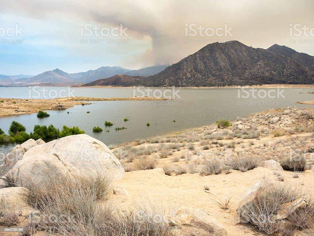 Cloud of smoke from Lake Isabella Wildfire, California, USA stock photo