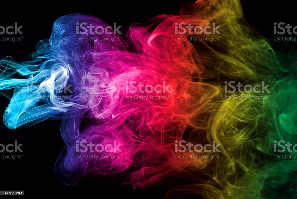 Cloud of smoke with colors running through it royalty-free stock photo