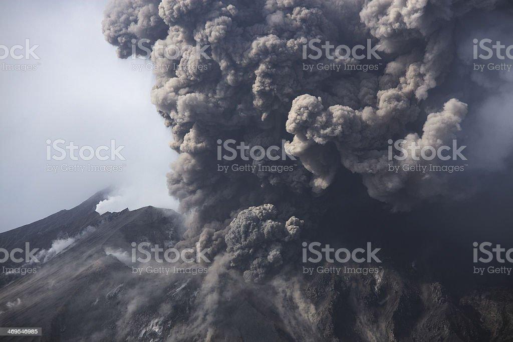 Cloud of volcanic ash from Sakurajima Kagoshima Japan stock photo