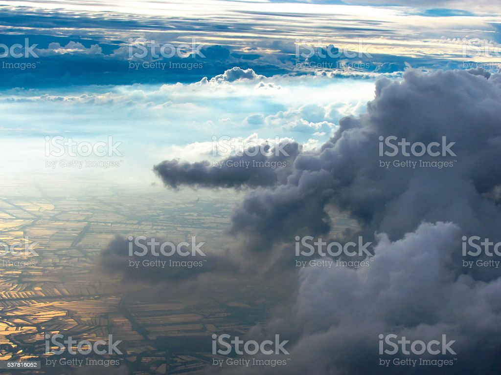 Cloud on the sky , see from airplane stock photo