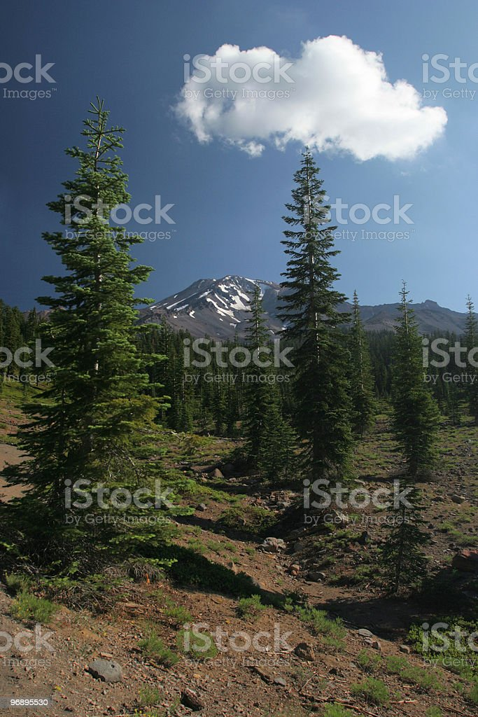 Cloud over Mount Shasta royalty-free stock photo