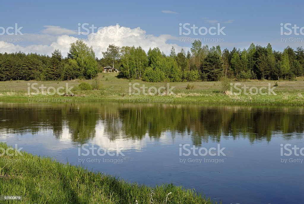 Cloud over the river royalty-free stock photo