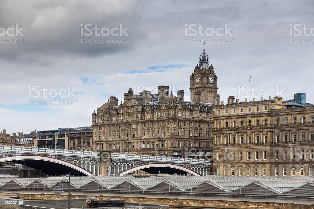 Cloud Over Waverley Bridge and Edinburgh Old Town stock photo