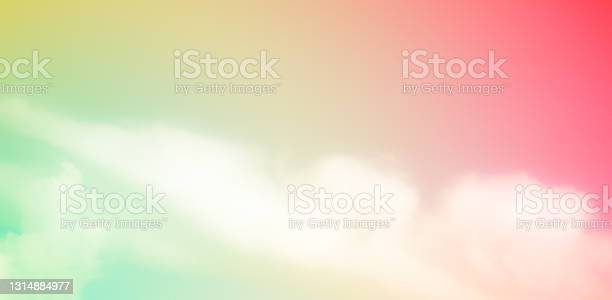 Photo of Cloud pink, blue, orange rainbow sky pastel abstract gradient blurred. soft focust canopy.