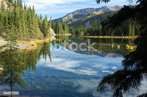 Reflections in beautiful blue waters of Horseshoe Lake at Denali National Park in Alaska USA.