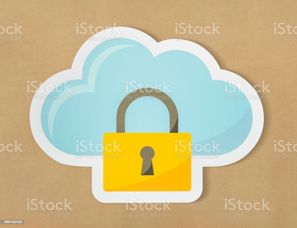 Cloud security icon technology symbol - Royalty-free Cloud Computing Stock Photo