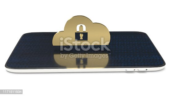 istock cloud security solutions for IT device 3d rendering. 1171511534