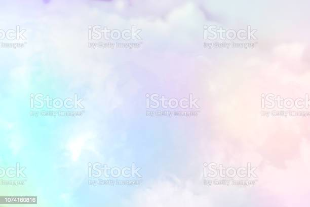 Photo of Cloud series : Colorful cotton candy. Soft fog and clouds with a pastel colored gradient for background.