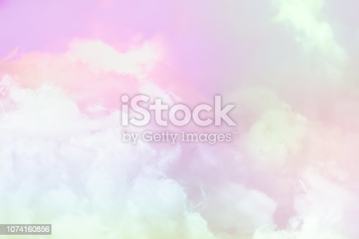istock Cloud series : Colorful cotton candy. Soft fog and clouds with a pastel colored gradient for background. 1074160856