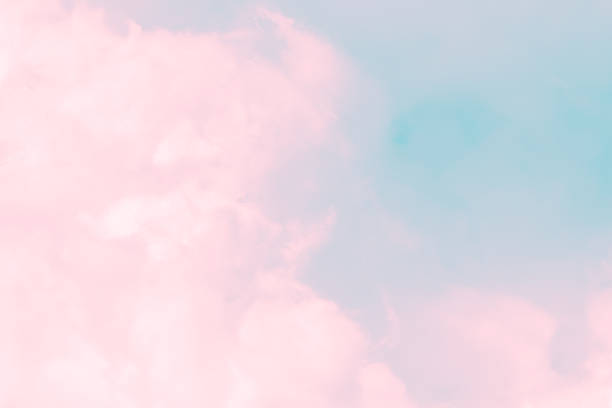 cloud series : colorful cotton candy. soft fog and clouds with a pastel colored pink to skyblue gradient for background. - różowy zdjęcia i obrazy z banku zdjęć