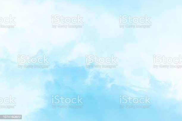Photo of Cloud series : Colorful cotton candy. Soft fog and clouds with a pastel colored blue for background.