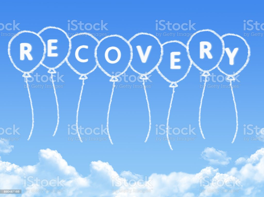 Cloud Shaped As Recovery Message Stock Photo & More Pictures of