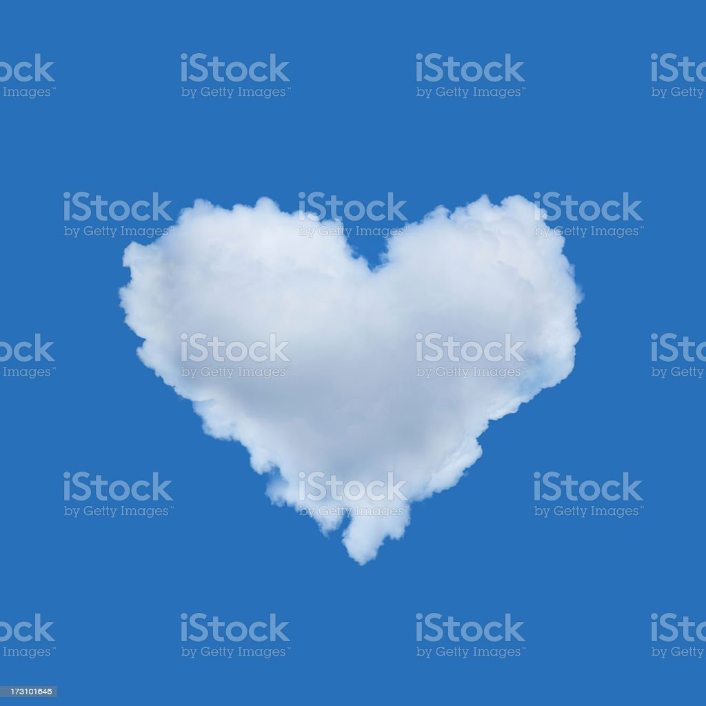 A cloud shaped heart against the clear blue sky royalty-free stock photo