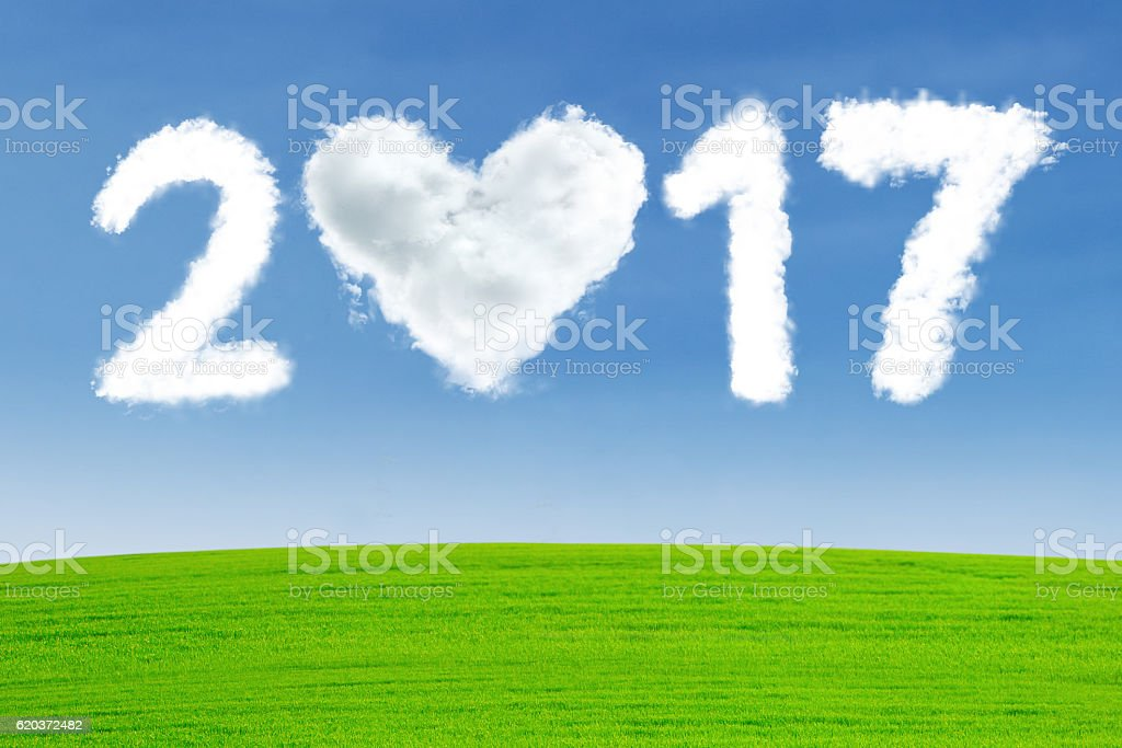 Cloud shaped of heart with number 2017 zbiór zdjęć royalty-free