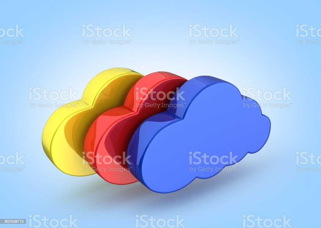 Cloud sign illustration Colorful clouds in blue on blue gradient background 3d stock photo