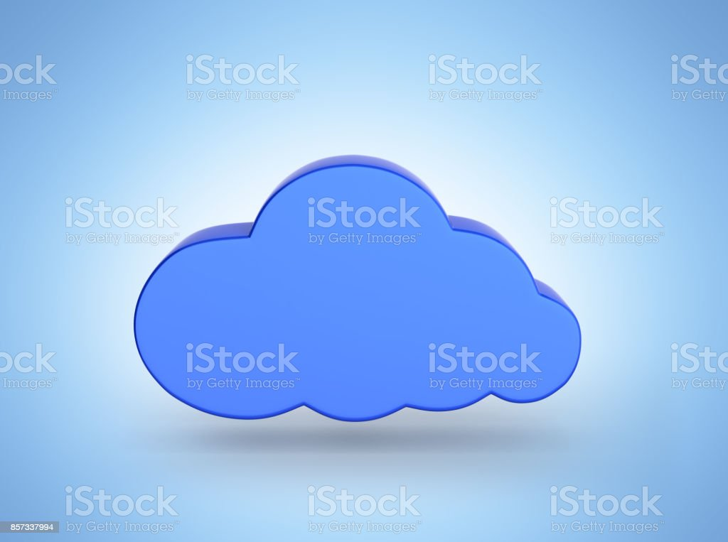 Cloud sign illustration in blue isolated on bleu gradient background 3d stock photo