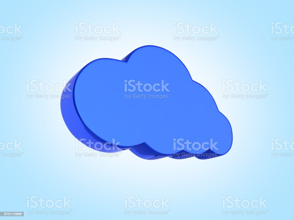 Cloud sign illustration in blue isolated on blue gradient background 3d stock photo